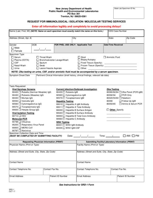 Form SRD-1  Printable Pdf