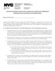 """""""Living in Communities (Linc) Iii Rental Assistance Program Program Tenant Statement of Understanding"""" - New York City"""
