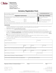 "Form COM3662 ""Cemetery Registration Form"" - Ohio"