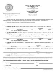 "SOS Form 0052 ""Change or Designation of Registered Agent and/Or Registered Office and/Or Designated Office (Oklahoma Lp)"" - Oklahoma"
