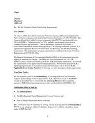 """""""Rcra Hazardous Waste Notification Requirements Letter Template"""" - Oregon"""