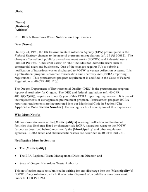 """""""Rcra Hazardous Waste Notification Requirements Letter Template"""" - Oregon Download Pdf"""