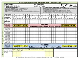 "Form DOH348-077 ""Refrigerator Temperature Monitoring Log"" - Washington"