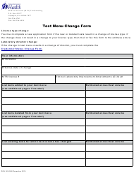 "Form DOH505-088 ""Test Menu Change Form"" - Washington"