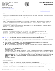 "Form F621-048-000 ""Elevator Installation Variance Application"" - Washington"