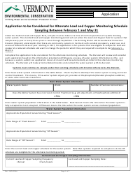 """""""Application to Be Considered for Alternate Lead and Copper Monitoring Schedule"""" - Vermont"""