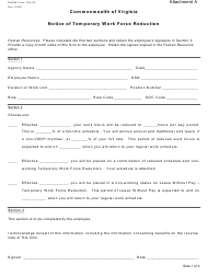 """DHRM Form 165-02 Attachment A """"Notice of Temporary Work Force Reduction"""" - Virginia"""