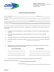 "Form DMM-156 ""Notice of Operator Intent"" - Virginia"