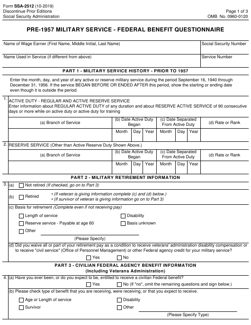 Form SSA-2512 Printable Pdf
