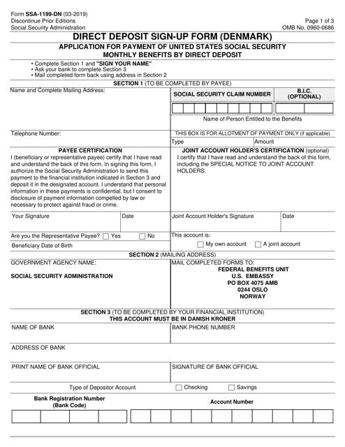 Form SSA-1199-DN  Printable Pdf