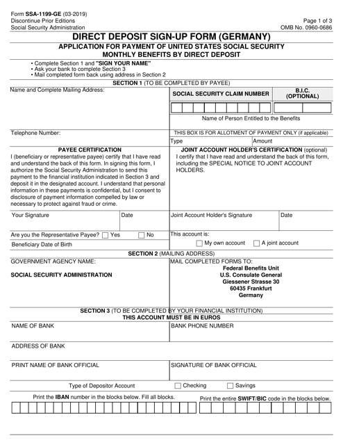 Form SSA-1199-GE Printable Pdf