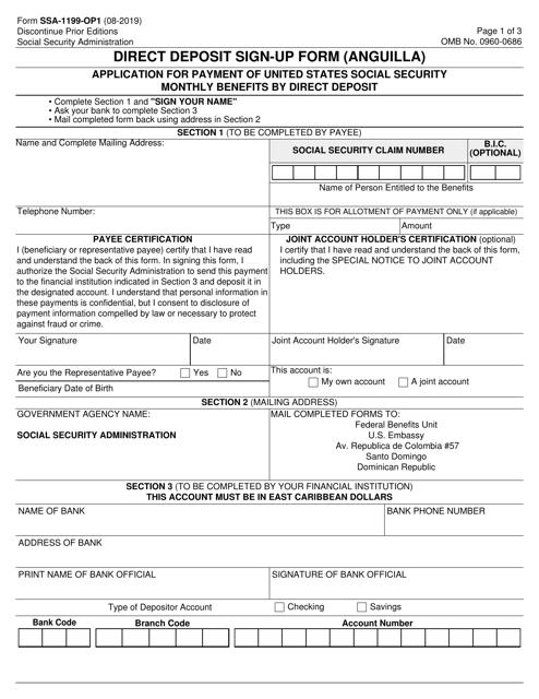 Form SSA-1199-OP1  Printable Pdf