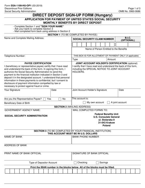 Form SSA-1199-HU-OP1  Printable Pdf