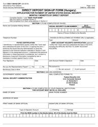 "Form SSA-1199-HU-OP1 ""Direct Deposit Sign-Up Form (Hungary)"""