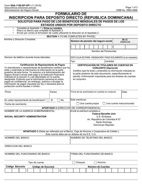 Formulario SSA-1199-SP-OP1  Printable Pdf