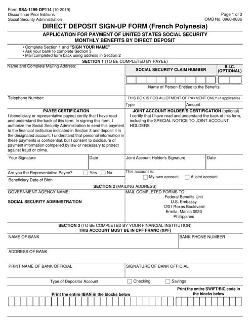 Form SSA-1199-OP-114  Printable Pdf