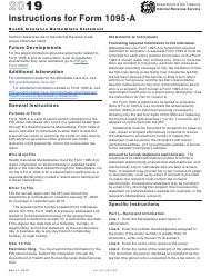 """Instructions for IRS Form 1095-A """"Health Insurance Marketplace Statement"""", 2019"""