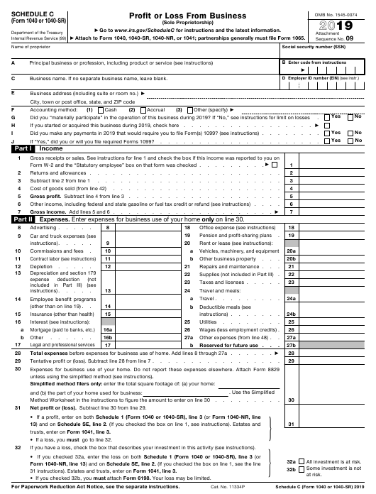 IRS Form 1040 (1040-SR) Schedule C 2019 Printable Pdf