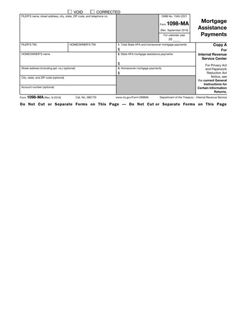 IRS Form 1098-MA Printable Pdf