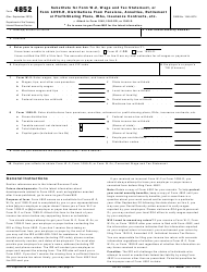 """IRS Form 4852 """"Substitute for Form W-2, Wage and Tax Statement, or Form 1099r, Distributions From Pensions, Annuities, Retirement or Profit-Sharing Plans, Ira's Insurance Contracts, Etc."""""""