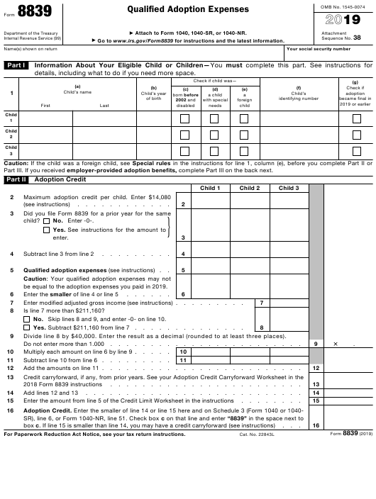 IRS Form 8839 2019 Printable Pdf