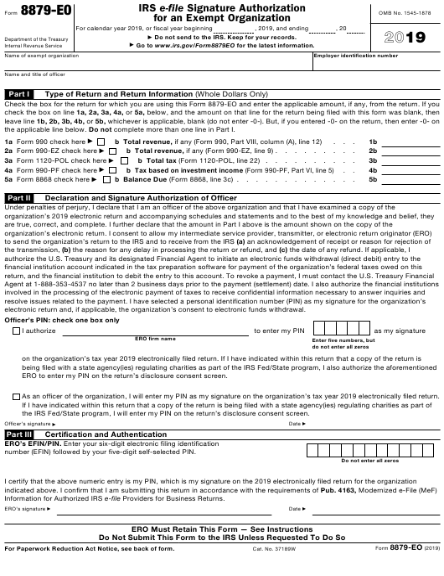 IRS Form 8879-EO 2019 Printable Pdf