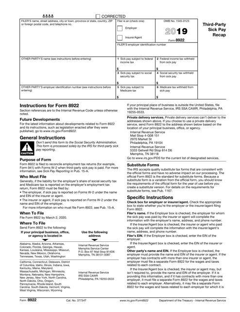 IRS Form 8922 2019 Printable Pdf