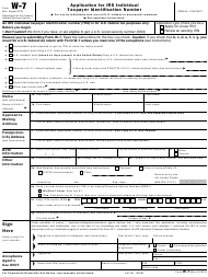 "IRS Form W-7 ""Application for IRS Individual Taxpayer Identification Number"""