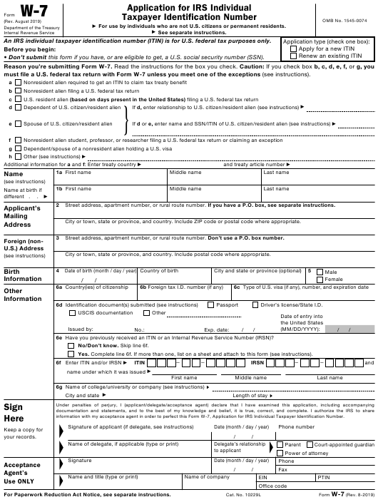 individual tax identification number application form