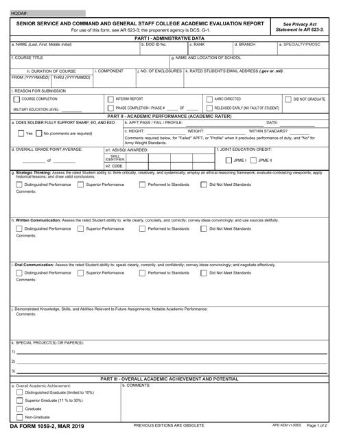 DA Form 1059-2  Printable Pdf