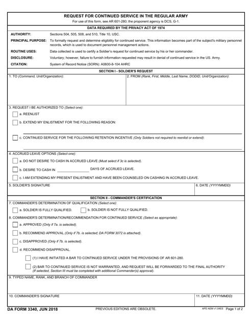 DA Form 3340  Printable Pdf