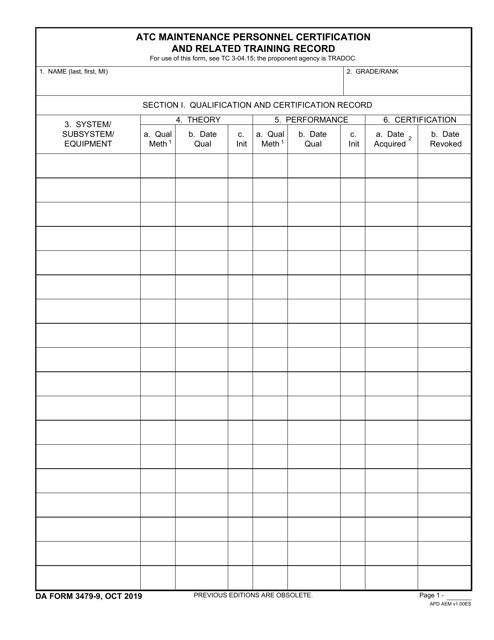 DA Form 3479-9 Printable Pdf