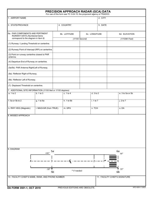 DA Form 3501-1  Printable Pdf