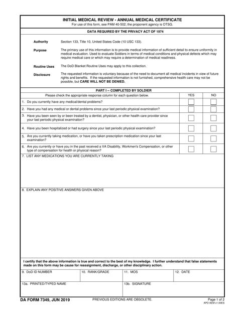 DA Form 7349  Printable Pdf