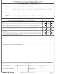 "DA Form 7349 ""Initial Medical Review - Annual Medical Certificate"""