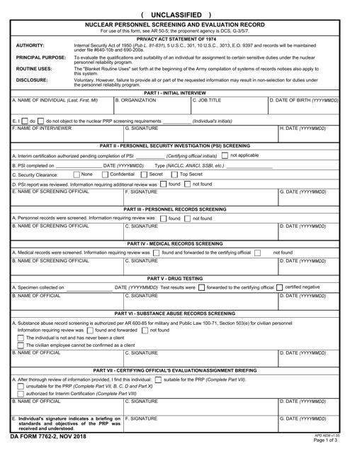 DA Form 7762-2  Printable Pdf