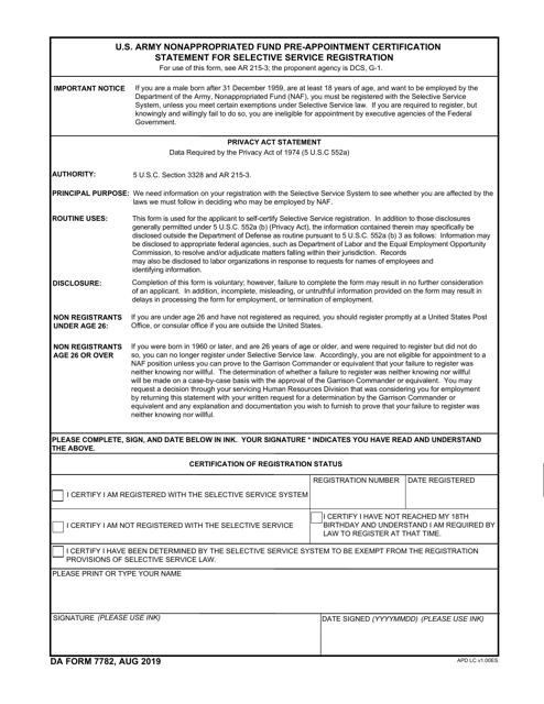 DA Form 7782  Printable Pdf