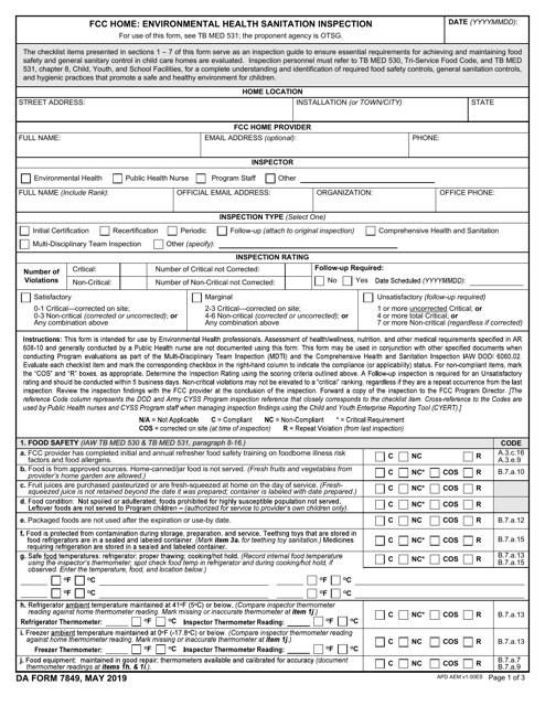 DA Form 7849  Printable Pdf