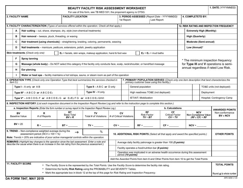 DA Form 7847  Printable Pdf