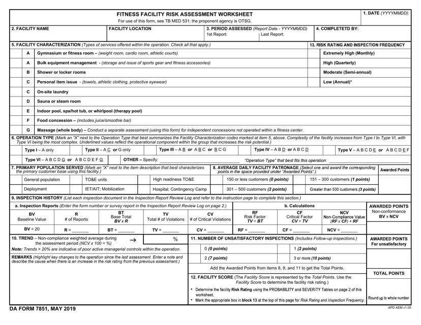 DA Form 7851  Printable Pdf