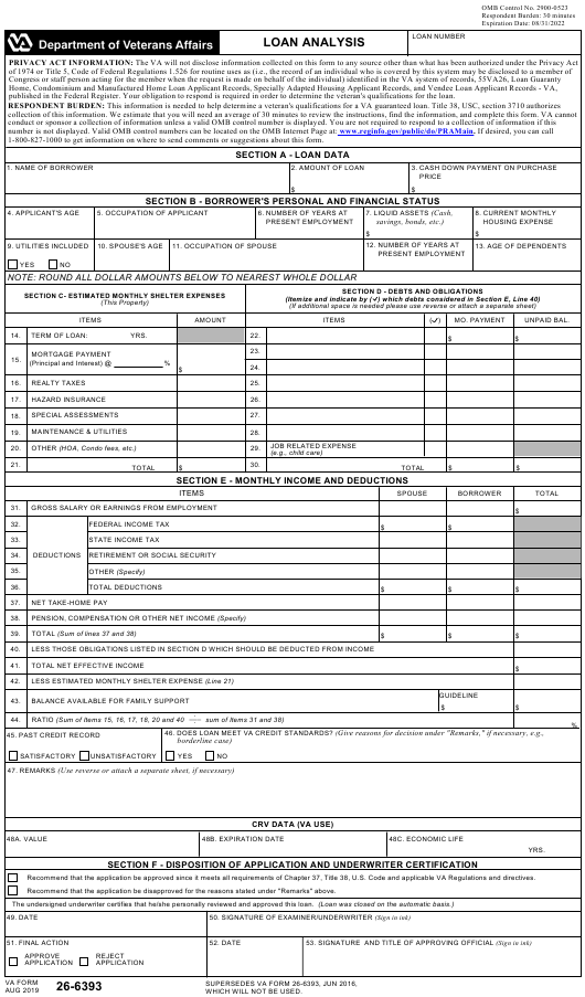 Va Form 26 6393 Download Fillable Pdf Or Fill Online Loan Analysis Templateroller