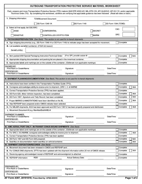 af form 4387 download fillable pdf or fill online outbound