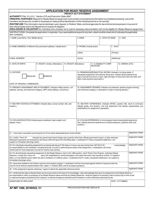 AF IMT Form 1288  Printable Pdf