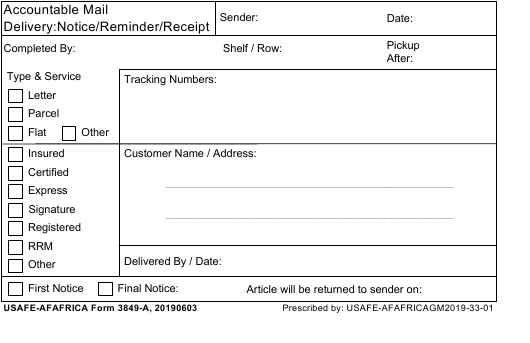 USAFE-AFAFRICA Form 3849-A  Printable Pdf