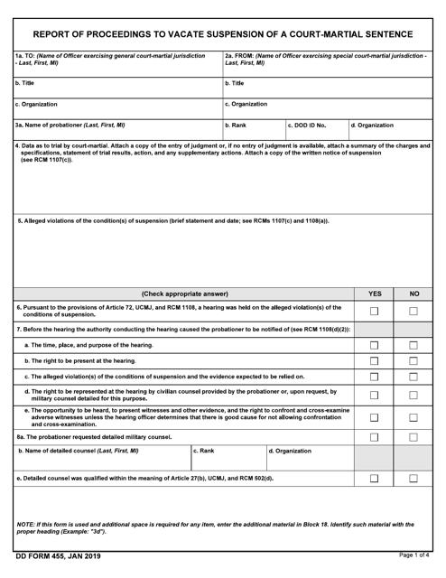 DD Form 455 Printable Pdf
