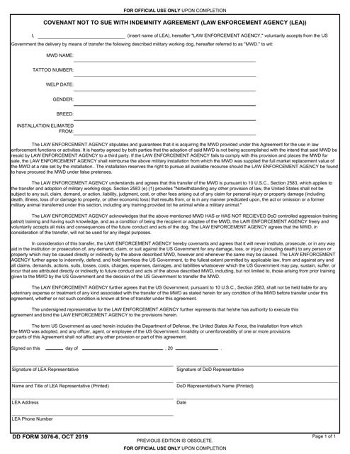 DD Form 3076-6  Printable Pdf