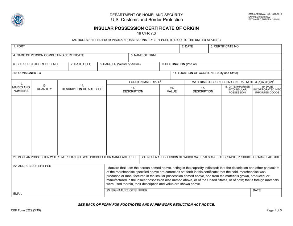 certificate origin cbp possession form pdf fillable templateroller insular fill template