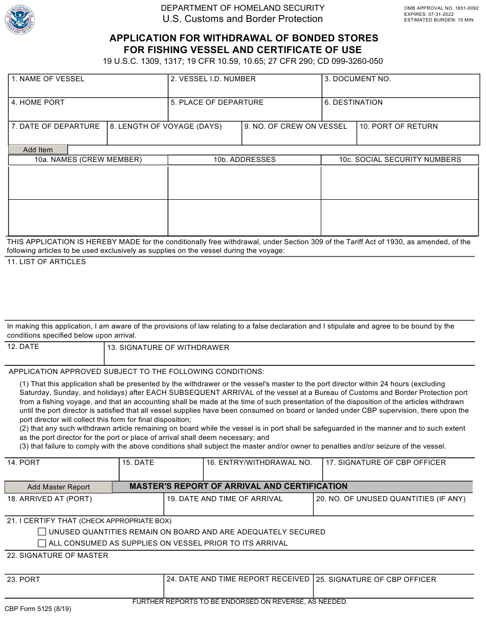 cbp form certificate vessel application withdrawal bonded templateroller stores fishing