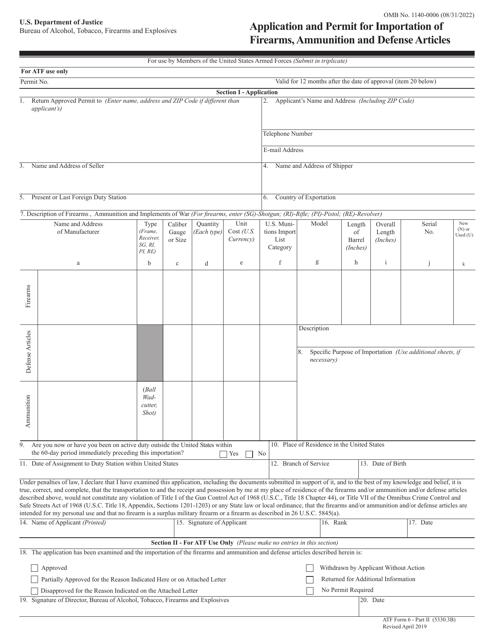 ATF Form 6 (5330.3B) Part II  Printable Pdf