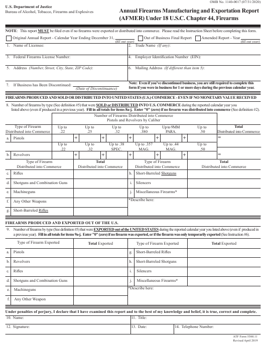 ATF Form 5300.11  Printable Pdf